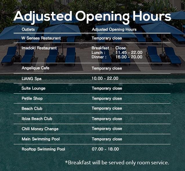adjust opening hours